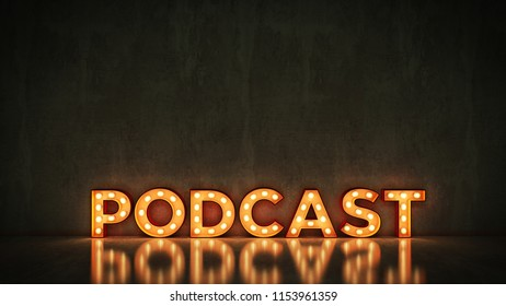 Neon Sign on Brick Wall background - Podcast. 3d rendering