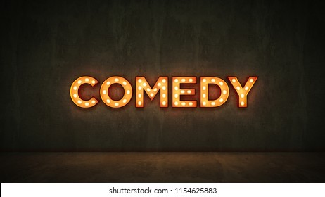 Neon Sign on Brick Wall background - Comedy. 3d rendering