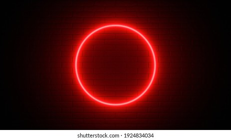 Neon sign on a brick wall. Glowing red circle. Abstract background, spectrum vibrant colors. 3d render illustration.