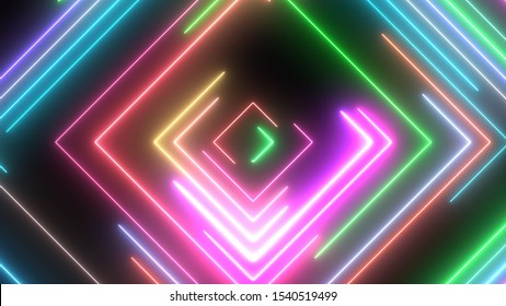 Neon Square Shapes Glow with Moving Electric Laser Light Beams - Abstract Background Texture