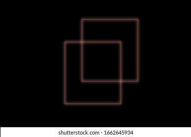 Neon squares on a black background abstraction