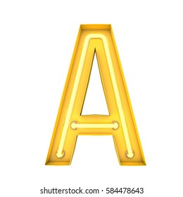 Neon style light letter A. Glowing neon Capital letter. 3D rendering