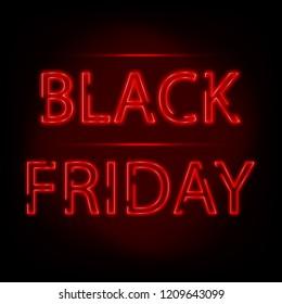 Neon text. Black Friday Label
