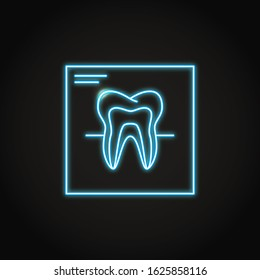 Neon tooth x-ray icon in line style. Dental records symbol. Teeth diagnostics concept. Stomatology illustration.