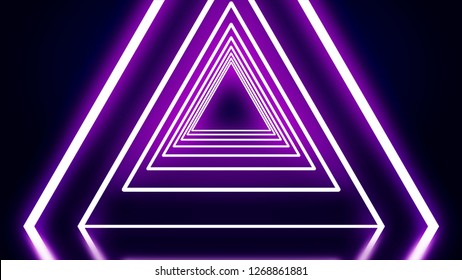 Neon triangular animation. Animation of neon tunnel consisting of triangles. Black background illuminated by neon glow lines