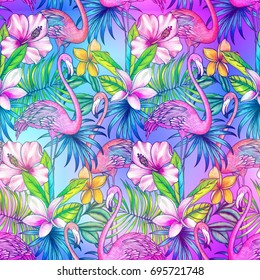 Neon tropical pattern, Seamless exotic botanical design, Flamingo pattern, Flamingos and palms, glowing tropical background,