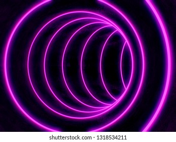 neon tunnel purple art 3d illustration