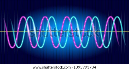 Neon Wave Graph Oscilloscope Image Wave Stock Illustration