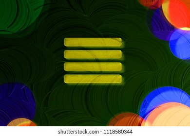 Neon Yellow Align Text to Justify Icon on the Deep Green Background With Colorful Circles. 3D Illustration of Yellow Align, Alignment, Center, Hamburger, Justify, Menu, Text Icon Set on the Green Back