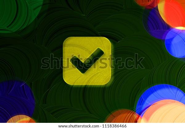Neon Yellow Check Icon On Deep Stock Illustration 1118386466