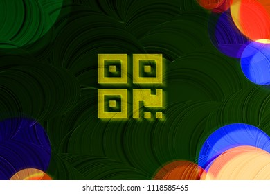 Neon Yellow Qrcode Icon on the Deep Green Background With Colorful Circles. 3D Illustration of Yellow Barcode, Code, Qr, Qrcode, Quick Response, Scan Icon Set on the Green Background.