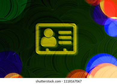 Neon Yellow Vcard Icon on the Deep Green Background With Colorful Circles. 3D Illustration of Yellow v Card, v Card, Vcard, Vcard File, Vcard File Icon Set on the Green Background.