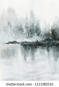 Neo-noir landscape. Blue river / lake / sea / ocean with mountains and forest in fog - hand drawn watercolor painting in minimalist style. Pre-made scene, background.