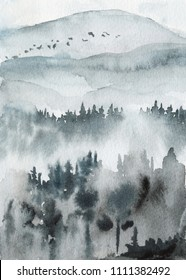 Neo-noir landscape. Blue valley with mountains and forest in fog - hand drawn watercolor painting in minimalist style. Pre-made scene, background.