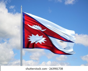 Nepal 3d flag waving in the wind. 3d illustration.