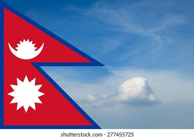 Nepal flag with Blue sky and white cloud