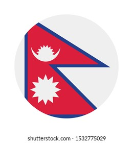 Nepal flag button on white background ,illustration, textured background, Symbols of Nepal
