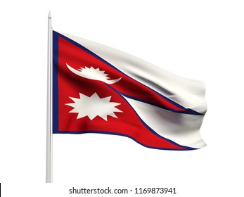 Nepal flag floating in the wind with a White sky background. 3D illustration.