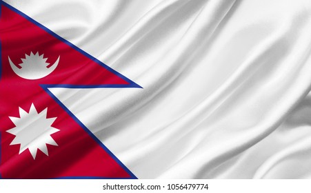 Nepal flag waving with the wind, 3D illustration.