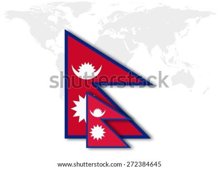 Nepal Flag World Map Background Stockillustration 272384645 ...