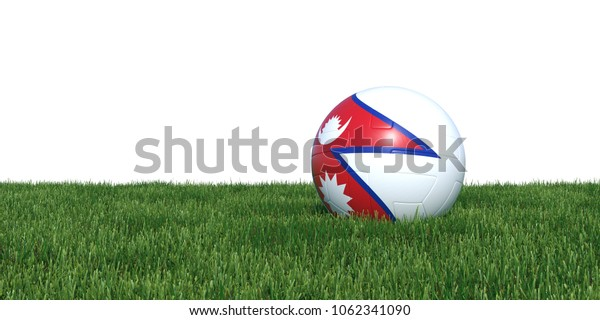 Nepalese Nepal flag soccer ball lying in grass, isolated on white background. 3D Rendering, Illustration.