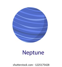 Neptune planet icon. Flat illustration of neptune planet icon isolated on white background