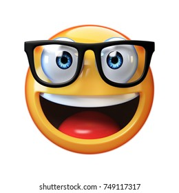 Nerd emoji isolated on white background, emoticon with glasses 3d rendering