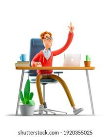 Nerd Larry sitzt mit einem Laptop am Tisch. 3D-Abbildung.
