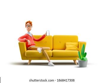 Nerd Larry saß mit dem Telefon auf dem Sofa. 3D-Abbildung.