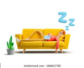 Nerd Larry schläft auf einem gelben Sofa. 3D-Abbildung.