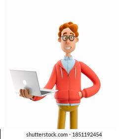Nerd Larry steht mit Laptop. 3D-Abbildung.
