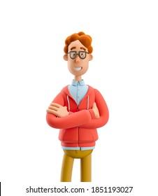 Nerd Larry stehen mit den Händen gekreuzt. 3D-Abbildung.
