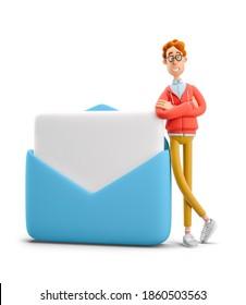 Nerd Larry steht neben einer großen Mail. 3D-Abbildung.