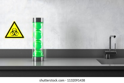 nerve agent novichok on a laboratory table  3D illustration