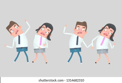 Nervous man arguing with his girlfriend . Isolated. 3d illustration
