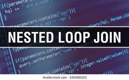 Nested loop join concept illustration using code for developing programs and app. Nested loop join website code with colorful tags in browser view on dark background. Nested loop join on binary