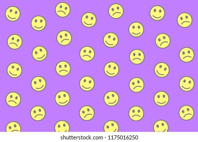 Net backdrop. Holiday texture. Throng composed of smart smileys.