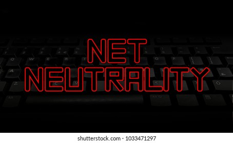Net Neutrality red text over black keyboard illustration