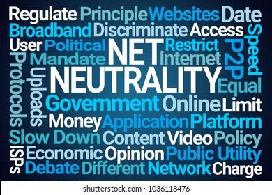 Net Neutrality Word Cloud on Blue Background