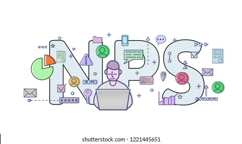 Net Promoter Score, NPS. Concept with computer user, letters and icons. Colored flat illustration on white background. Raster version.