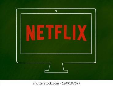Netflix logo text Chalk illustration on green chalkboard