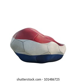 netherland deflated soccer ball isolated on white