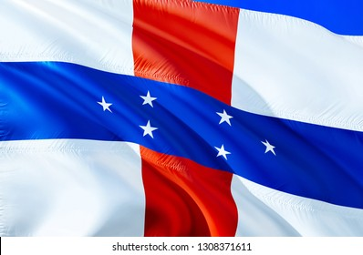 Netherlands Antilles flag. 3D Waving flag design. The national symbol of Netherlands Antilles, 3D rendering. National colors and National Caribbean flag of Netherlands Antilles for a background