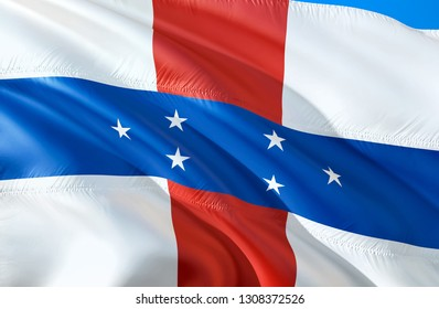 Netherlands Antilles flag. 3D Waving flag design. The national symbol of Netherlands Antilles, 3D rendering. The national symbol of Netherlands Antilles wallpaper. Caribbean flag background