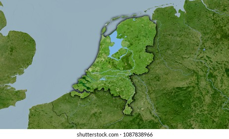 Netherlands area on the satellite B map in the stereographic projection - raw composition of raster layers with dark glowing outline