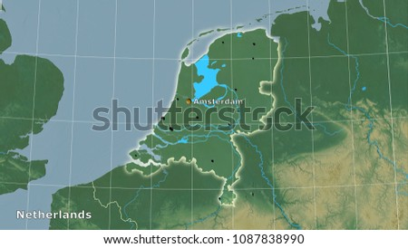 Netherlands Topographic Map.Netherlands Area On Topographic Relief Map Stock Illustration