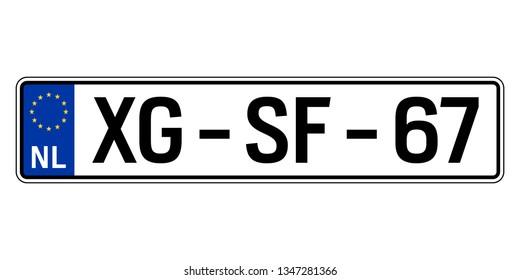 Netherlands car plate. Vehicle registration number