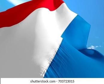 Netherlands flag. 3D Waving flag design. Red, white and blue flag. The national symbol of Netherlands. Netherlandian National colors. National flag of Netherlands for a background sign