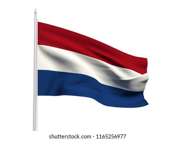 Netherlands flag floating in the wind with a White sky background. 3D illustration.