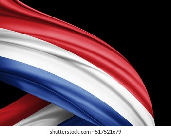 Netherlands flag of silk with copyspace for your text or images and black  background -3D illustration